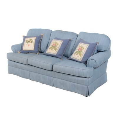 Sky Blue Upholstered Sofa, Late 20th Century
