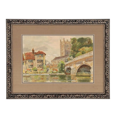 Color Lithotint in the Manner of Frank William Boggs Paris Cityscape