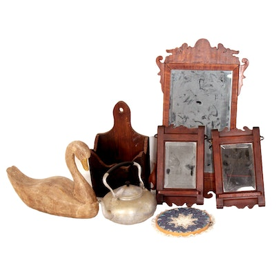 Home Décor Including Wall Pocket, Mirrors, and Goose Decoy Carving, 20th Century