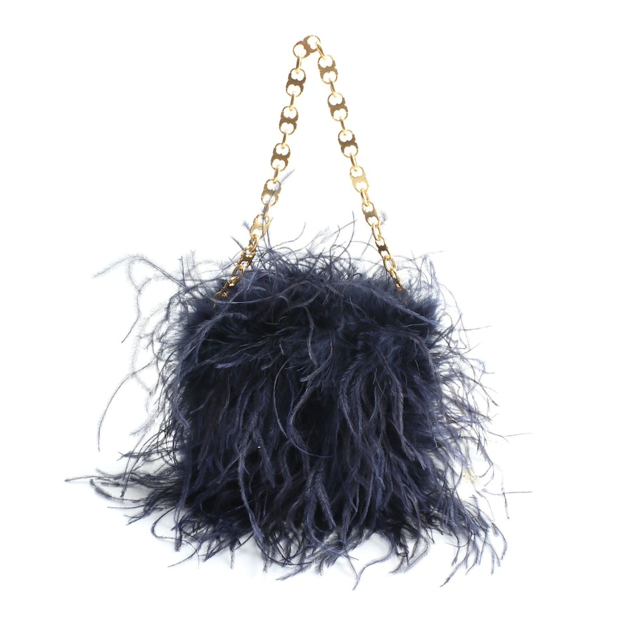Tory Burch 2017 Collection Navy Ostrich Feather Bag with Gemini Chain Handle