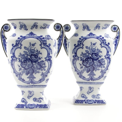 Pair of Chinese Blue and White Decorative Porcelain Floral Table Vases