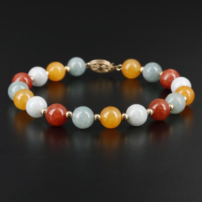 14K Yellow Gold Jadeite Bead Bracelet