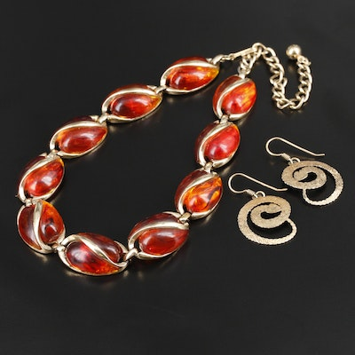 Vintage Coro Resin Necklace and Coiled Snake Earrings