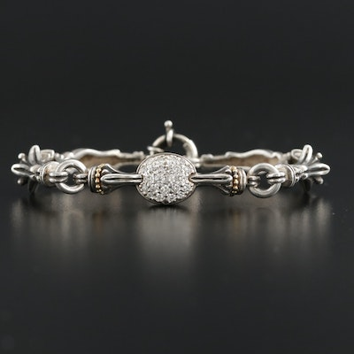 Caviar by Lagos Sterling Silver Diamond Bracelet with 18K Accents