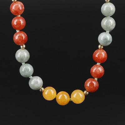 14K Yellow Gold Jadeite Bead Endless Necklace