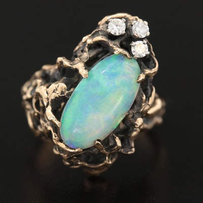 Brutalist 14K Gold Opal and Diamond Ring