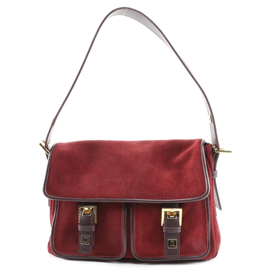 Susan Lucci Burgundy Suede Twin Pocket Shoulder Bag Signed by Susan Lucci