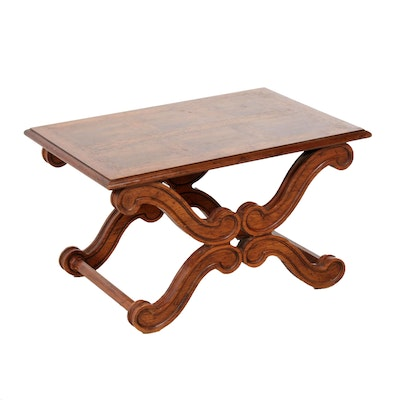 French Provincial Style Parquetry Top Side Table, Late 20th Century