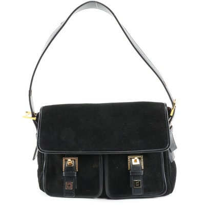 Susan Lucci Twin Pocket Shoulder Bag in Black Suede Signed by Susan Lucci