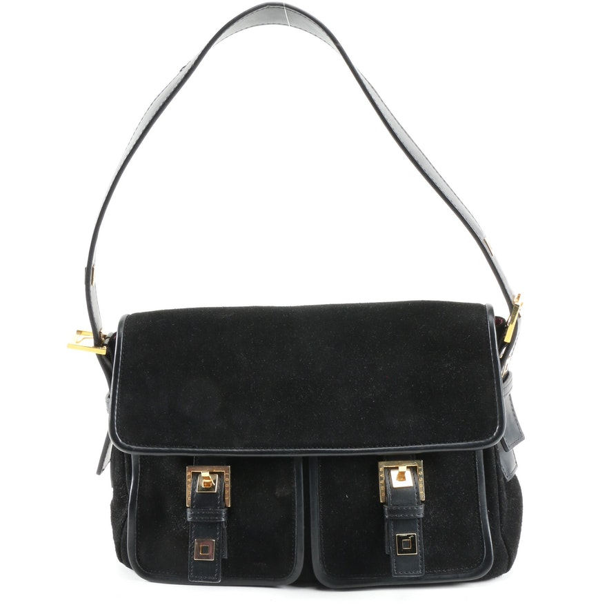 Susan Lucci Twin Pocket Shoulder Bag in Black Suede Signed by Susan Lucci
