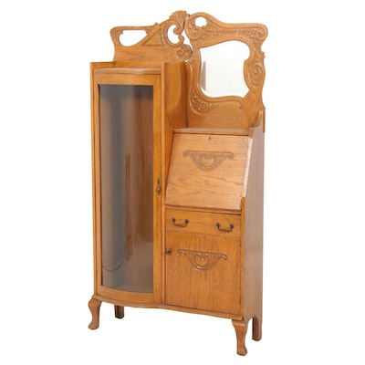 Late Victorian Oak Side-by-Side Secretary Bookcase, Late 19th/Early 20th Century