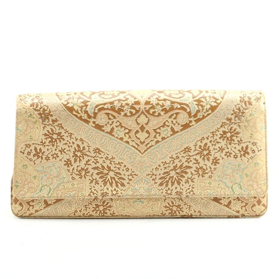 Manolo Blahnik Brocade Print Embossed Leather Clutch