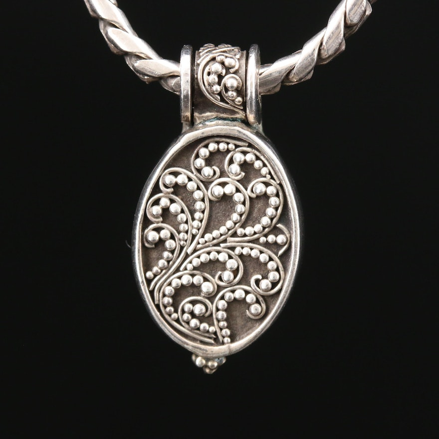 Sterling Silver Locket Pendant Toggle Necklace