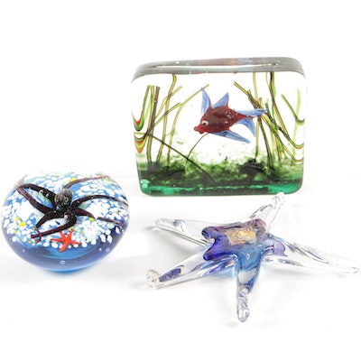 Sea Life Art Glass Paperweights and Table Decor