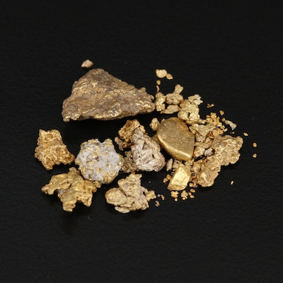 Assortment of Gold Nuggets and Native Gold of Varying Gold Content