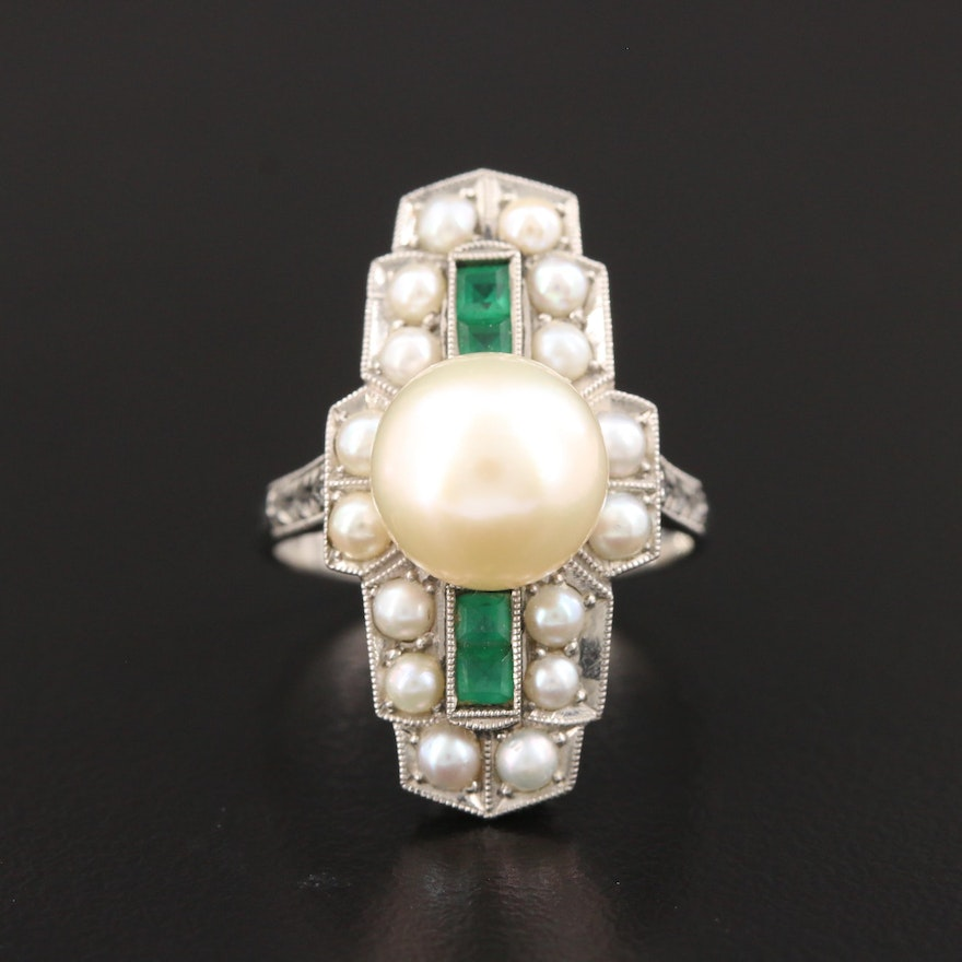 Vintage Cultured Pearl and Glass Ring