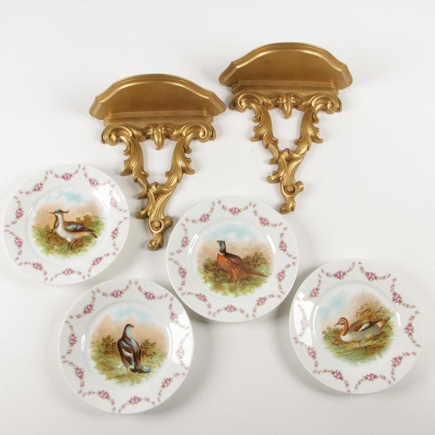 O. & E.G. Royal Porcelain Pheasant Plates and Syracuse Ornamental Co. Shelves