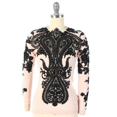 Naeem Khan Sweater in Light Pink Cashmere with Black Lace Appliqués