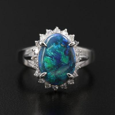 Platinum Opal and Diamond Halo Ring