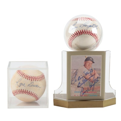 Enos Slaughter and Ryne Duren Signed Baseballs with a Signed Enos Card    COA