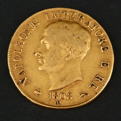 1808-M Italian States Kingdom of Napoleon 40 Lire Gold Coin