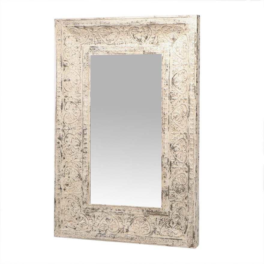 Large Pressed Tin Mirror with Distressed Finish, 21st Century