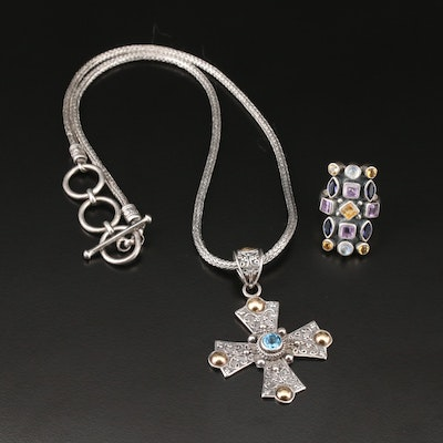 Sterling Silver and 18K Accented Jewelry Including Topaz, Amethyst and More