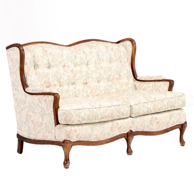 French Provincial Style Wing-Back Settee, Late 20th Century