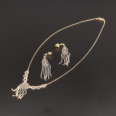 10K Yellow and White Gold Bead Chain Necklace and Earrings