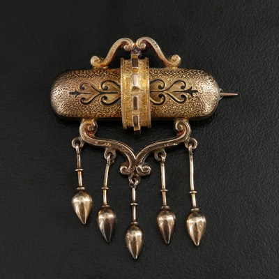 Victorian Enamel Brooch with 14K Yellow Gold Accents