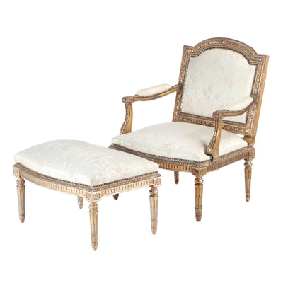 Louis XVI Style Giltwood Fauteuil and Footstool, Late 20th Century