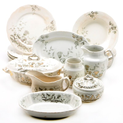 """John Edwards """"Thistle"""" Transferware Dinnerware and Serving Pieces, Late 19th C."""