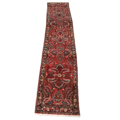 2'7 x 13'10 Hand-Knotted Persian Lilihan Carpet Runner, 1940s
