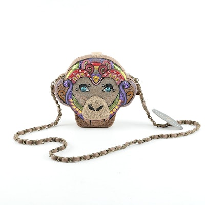 "Mary Frances ""Going Bananas"" Embellished Monkey Head Crossbody Bag"