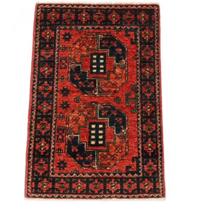 2'1 x 3'1 Hand-Knotted Afghani Turkoman Rug, 2010s