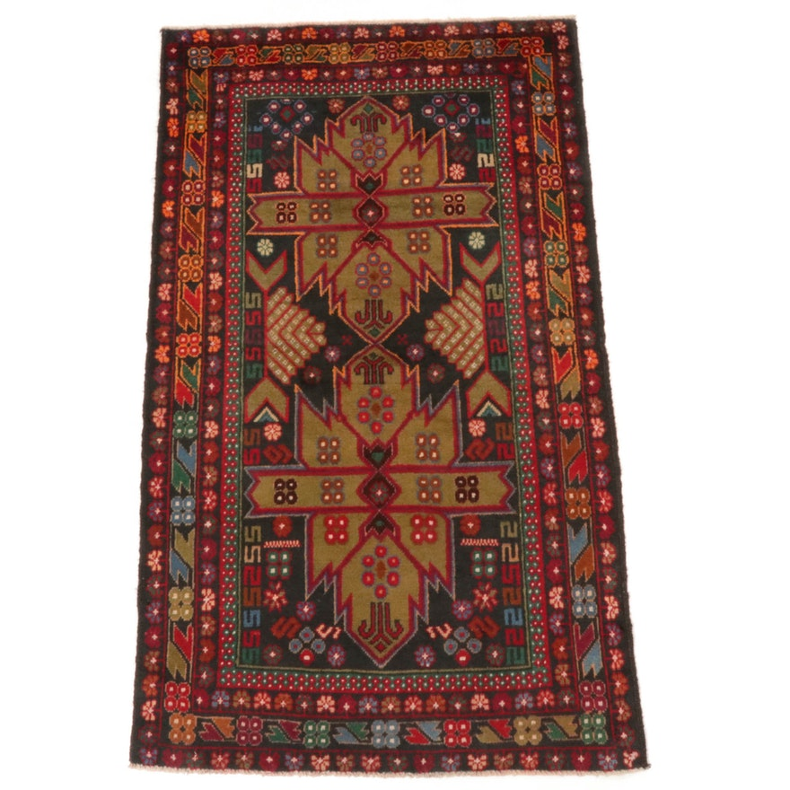 2'10 x 4'11 Hand-Knotted Persian Baluch Rug, 2000s