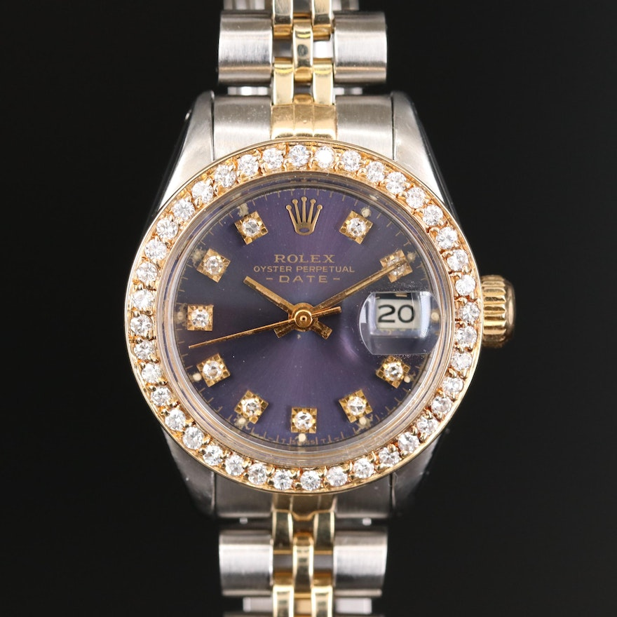 Rolex Oyster Perpetual Datejust 14K Gold, Diamond and Stainless Steel Wristwatch