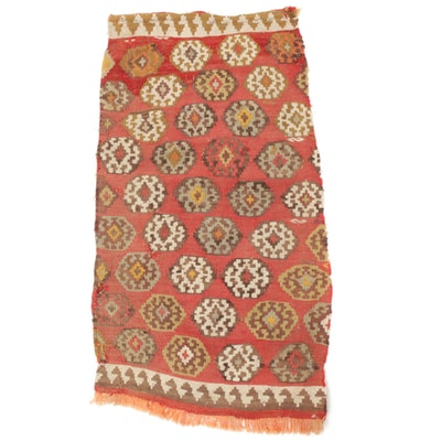 1'8 x 3'2 Handwoven Caucasian Soumak Kilim Rug, 1900