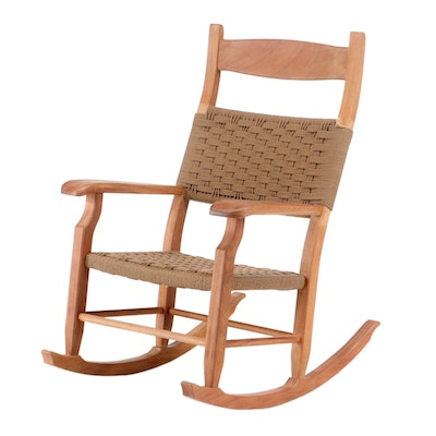Danish Modern Style Teak and Rope Oversized Rocking Chair