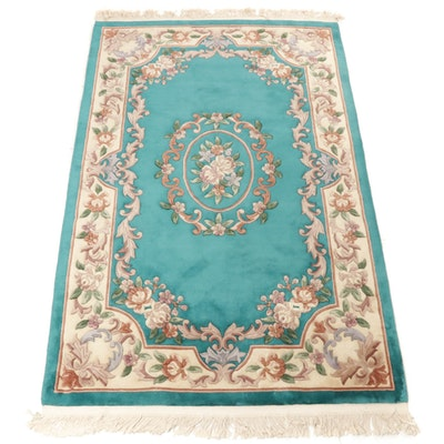 5'1 x 8'0 Hand-Knotted Chinese French Aubusson Sculpted Rug, 2000s