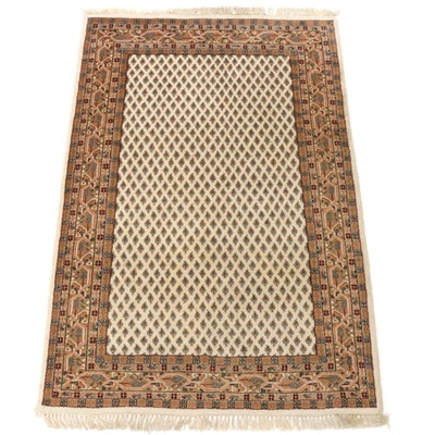 4'0 x 6'4 Hand-Knotted Indo-Persian Mir Sarouk Rug, 2000s