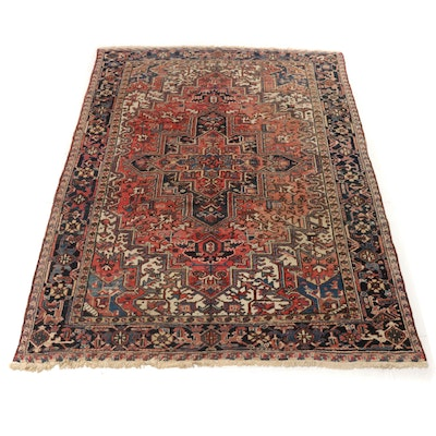 7'10 x 11'2 Hand-Knotted Persian Heriz Rug, 1950s