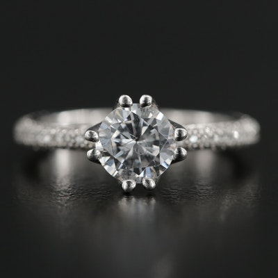 Platinum Cubic Zirconia and Diamond Ring