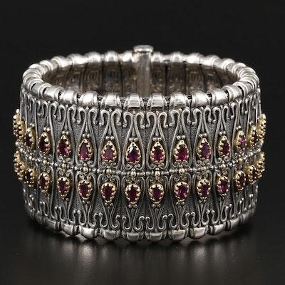 Konstantino Sterling Silver Rhodolite Garnet Bracelet with 18K Gold Accents