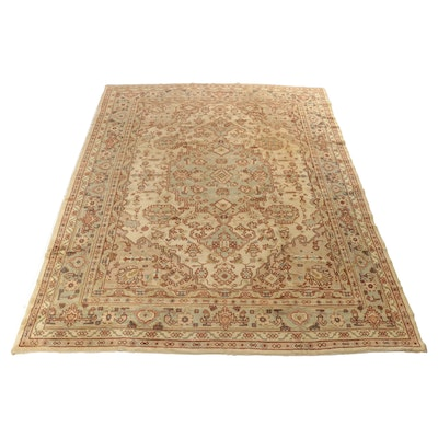 9'9 x 12'3 Hand-Knotted Turkish Oushak Room Size Rug, 1920s