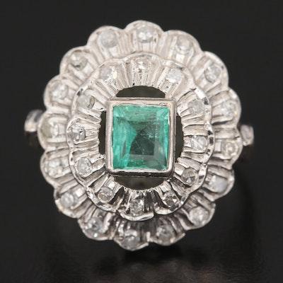Circa 1940 Silver Palladium Alloy Emerald and Diamond Ring