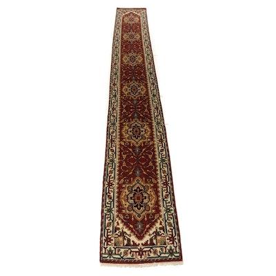 2'7 x 19'7 Hand-Knotted Indo-Persian Heriz Serapi Runner