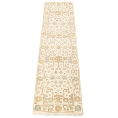 2'8 x 9'10 Hand-Knotted Indo-Turkish Oushak Runner