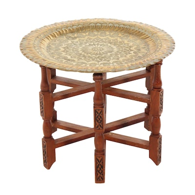 Moroccan Folding Wooden Tea Table with Engraved Brass Tray