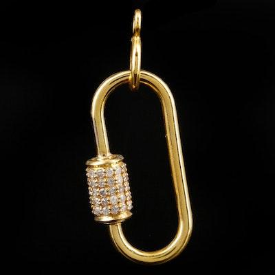 14K Yellow Gold Diamond Carabiner Pendant
